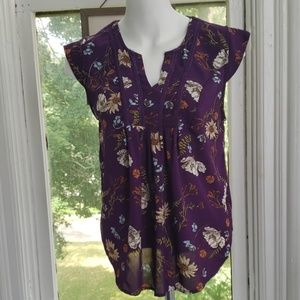Collective Concepts Plum Floral Blouse